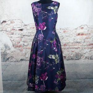 Tahari ASL 16 Navy Blue Purple Floral Dress